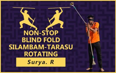 Non-Stop Silambam-Tarasu Rotating and Balancing Cup of Water on both sides with Blind Folded