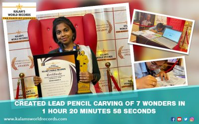 Created Lead Pencil Carving of 7 Wonders in 1 Hour 20 Minutes 58 Seconds