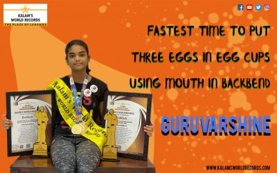 Fastest Time to Put Three Eggs in Egg Cups Using Mouth in Backbend