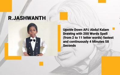Upside Down APJ Abdul Kalam Drawing with 200 Words Spell (from 2 to 11 letter words) fastest and continuously 4 Minutes 58 Seconds