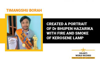 Created a Portrait  of Dr Bhupen Hazarika With Fire and Smoke of Kerosene Lamp