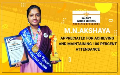 Appreciated for Achieving and Maintaining 100 Percent Attendance