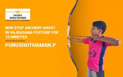 Non Stop Archery Shoot in Vajrasana Posture for 10 Minutes