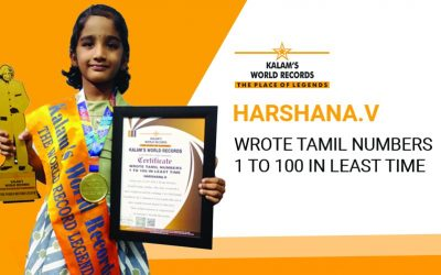 Wrote Tamil Numbers 1 to 100 in the Least Time