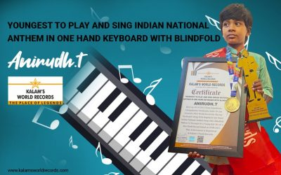 Youngest to Play  and Sing National Anthem in  One Hand Keyboard With Blindfold