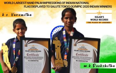 World Largest Hand Palm Impressions of Indian National Flag Displayed to Salute Tokyo Olympic 2020 Indian Winners
