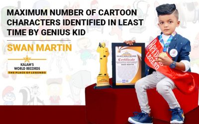 Maximum Number of Cartoon Characters  Identified in the Least Time by Genius Kid