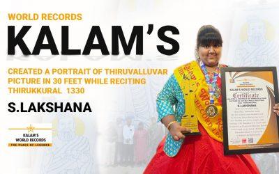 Created a Portrait of Thiruvalluvar Picture in 30 Feet While Reciting 1330 Thirukkural