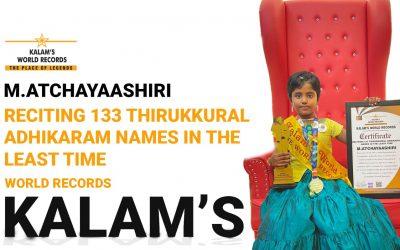 Reciting 133 Thirukkural Adhikaram Names in the Least Time
