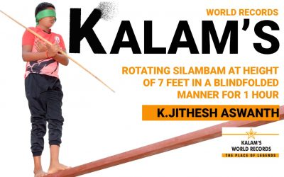 Rotating Silambam at Height of 7 Feet in a Blindfolded Manner for 1 Hour