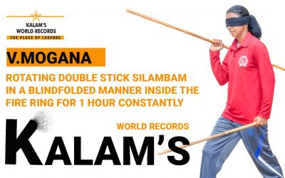 Rotating Double Stick Silambam in a Blindfolded Manner Inside the Fire Ring for 1 Hour Constantly